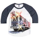 Shirts That Go Little Boys' Big USA Flag Fire Truck Raglan T-Shirt