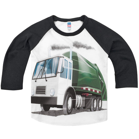 Shirts That Go Little Boys' Garbage Truck Raglan T-Shirt 6 Black Sleeves