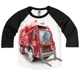 Shirts That Go Little Boys' Big Red Garbage Truck Raglan T-Shirt