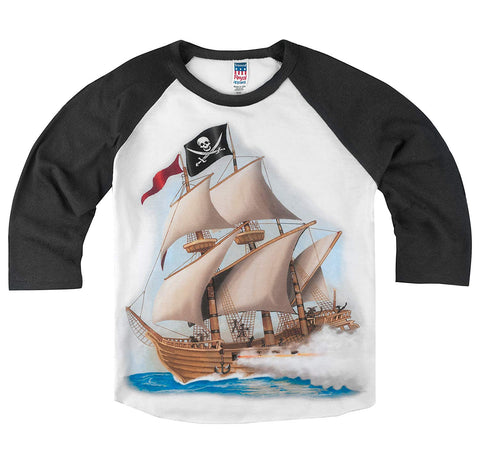Shirts That Go Little Boys' Pirate Ship Raglan T-Shirt
