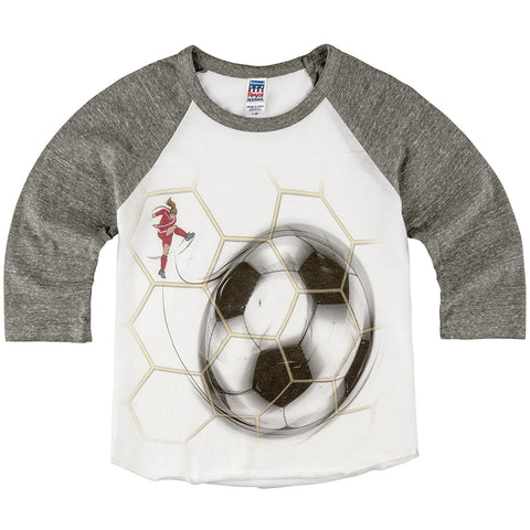 Shirts That Go Little Girls' Soccer Goal Ball & Net Raglan T-Shirt