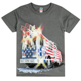 Shirts That Go Little Boys' Big USA Flag Fire Truck T-Shirt
