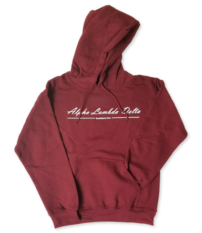 Maroon Hooded Sweatshirt with 1 color front design