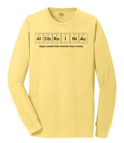 Long Sleeve T-Shirt in Popcorn Yellow with 2 color, full front design