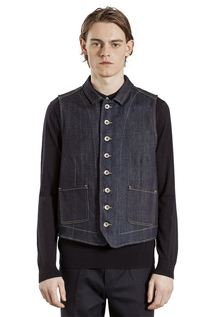 The Full Buttoned Waistcoat - Denim