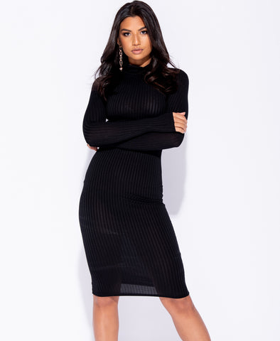 81d82b7cfa6648 Sale Black Skinny Rib Knit High Neck Midi Dress