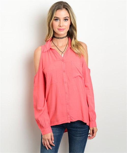 36961355d4b8eb CORAL COLD SHOULDER TOP – Etiquelleshop