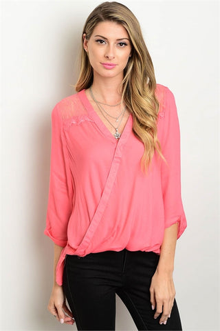 a491e4366dd55c Sale CORAL WRAPPED FRONT TOP - Etiquelleshop