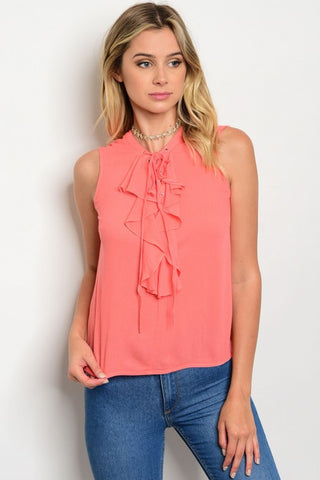 ad917ab591fc97 CORAL LACE-UP RUFFLE TOP. Etiquelleshop