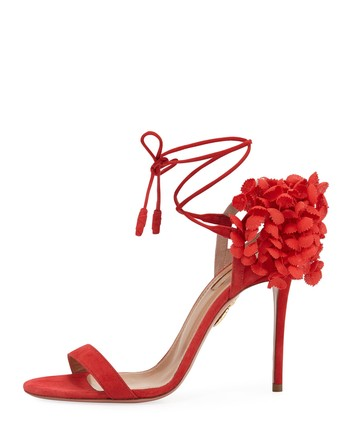 Aquazzura | Red Wild Thing Black Suede Fringe Tassel Ankle 38 8 #369 Sandals