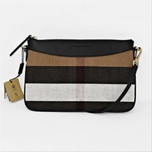 Burberry | Peyton Check Black Canvas Cross Body Bag