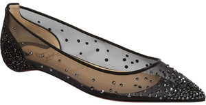Christian Louboutin | Black Follies Strass Red Sole Flats