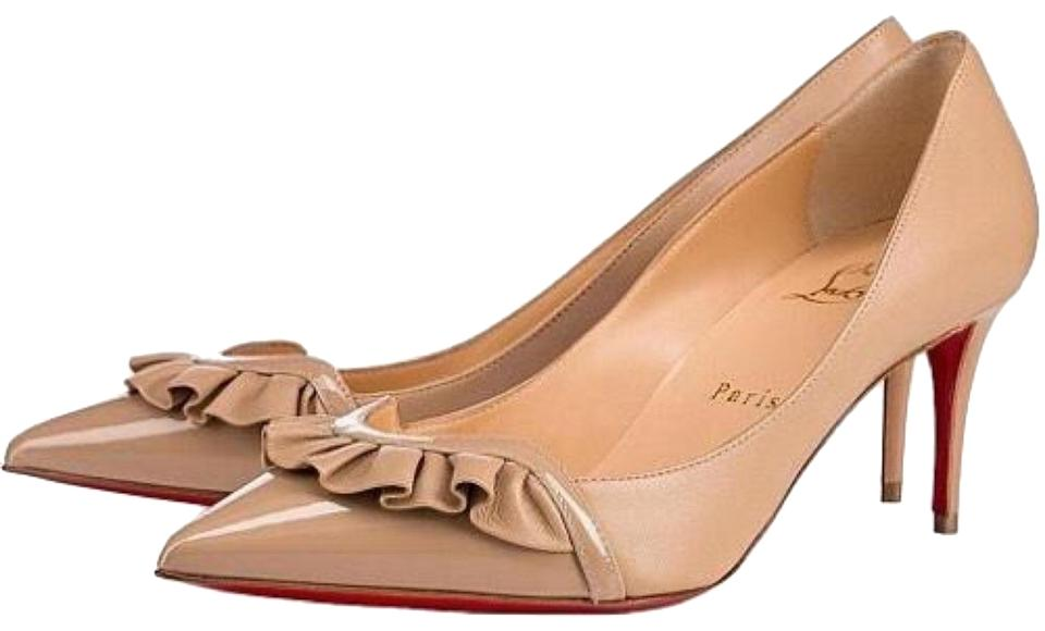meet ae99a b1d17 Christian Louboutin | Blush Nude Froumid 70 Patent/Nappa Shiny Low Heel  Pumps