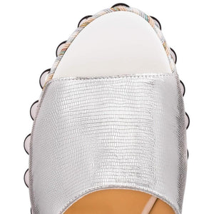 Christian Louboutin | Silver and White Janibasse 60 Mm Mules/Slides