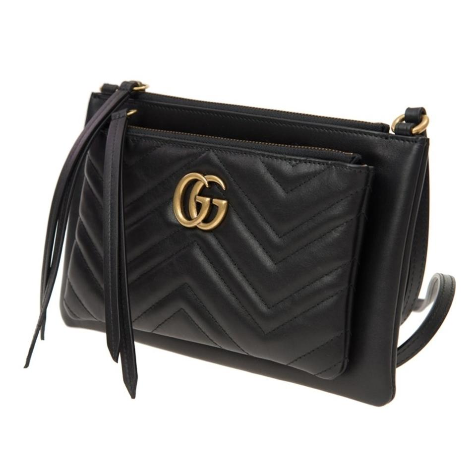 Gucci | Marmont Matelasse Chevron W/Pouch Black Leather Shoulder Bag