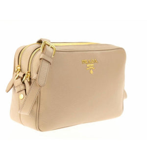 Prada | Large Camera Beige Leather Cross Body Bag