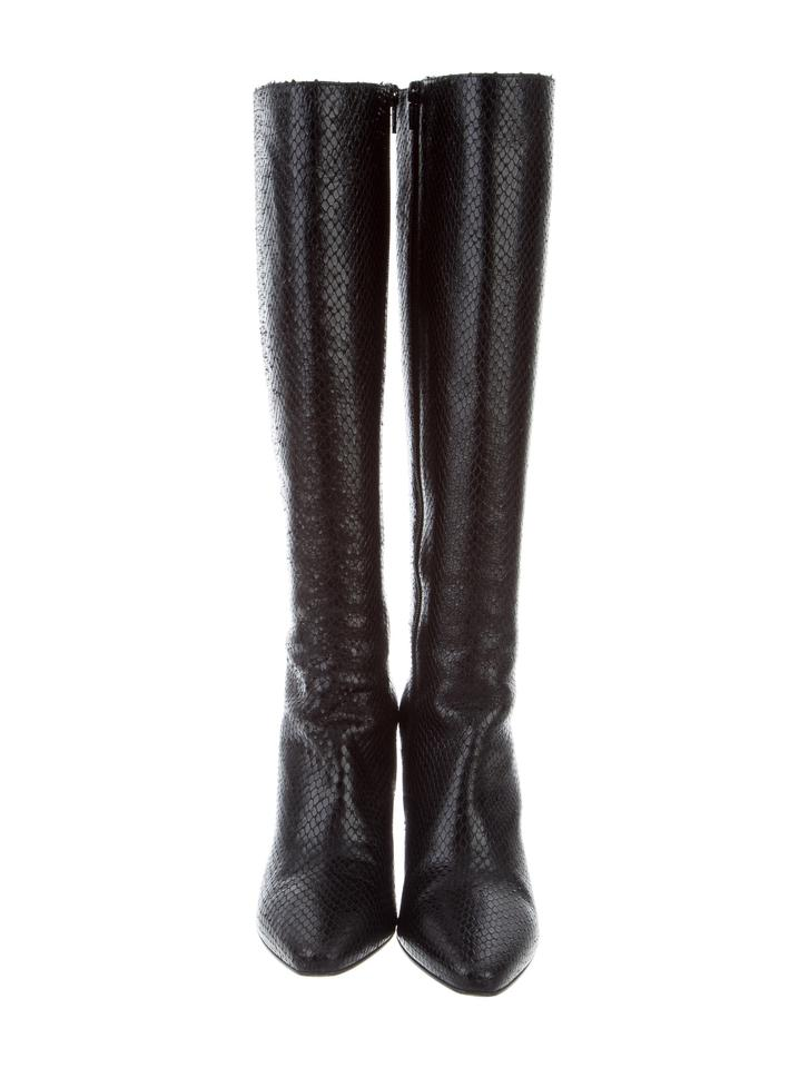 Saint Laurent | Black New Lily Textured Leather Faux Snake Boots/Booties