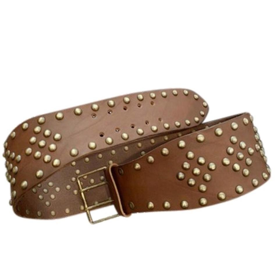 Saint Laurent | Brown Distressed Studded Belt