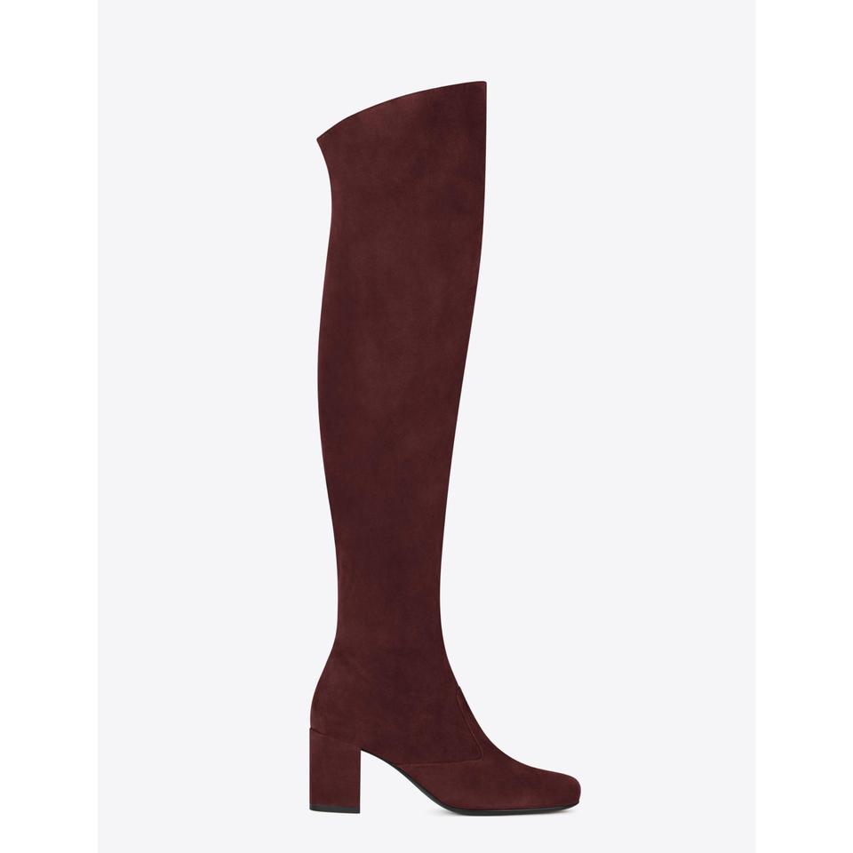 a57893a0 Saint Laurent | Burgundy Ysl Bb 70 Suede Over The Knee Boots/Booties