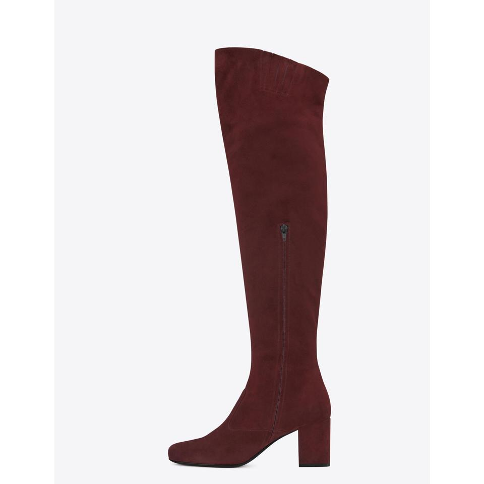 Saint Laurent | Burgundy Ysl Bb 70 Suede Over The Knee Boots/Booties