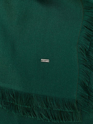 Saint Laurent | Emerald Green Ysl Logo Print Shawl Scarf/Wrap