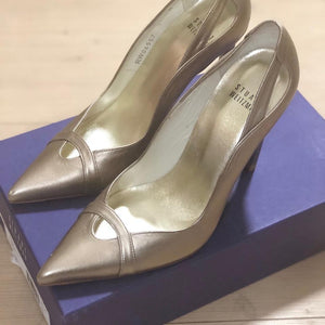 Stuart Weitzman | Metallic Gold Drama Leather Pumps
