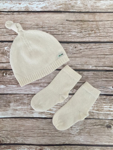 Pure Cashmere Baby Hat & Socks Set, 1-3 month, 100% eco-friendly