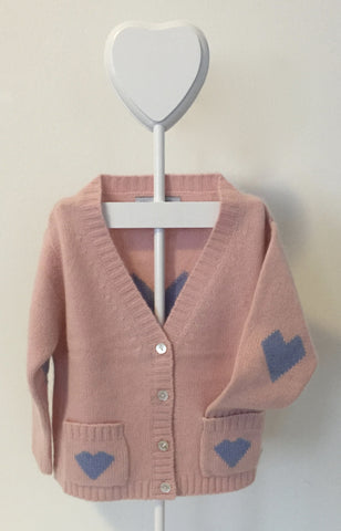 Pure Cashmere Cardigan Intarsia Hearts, 100% eco-friendly