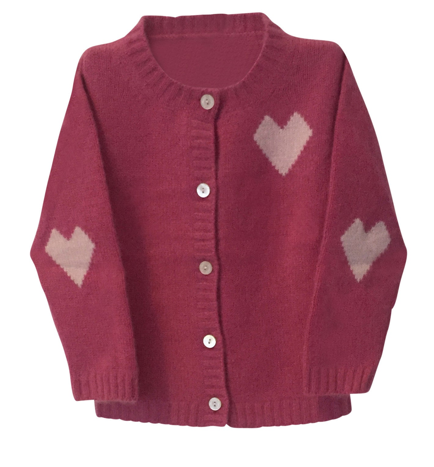 Pure Cashmere Cardigan Intarsia Hearts, 100% eco-friendly - MINIMAINS