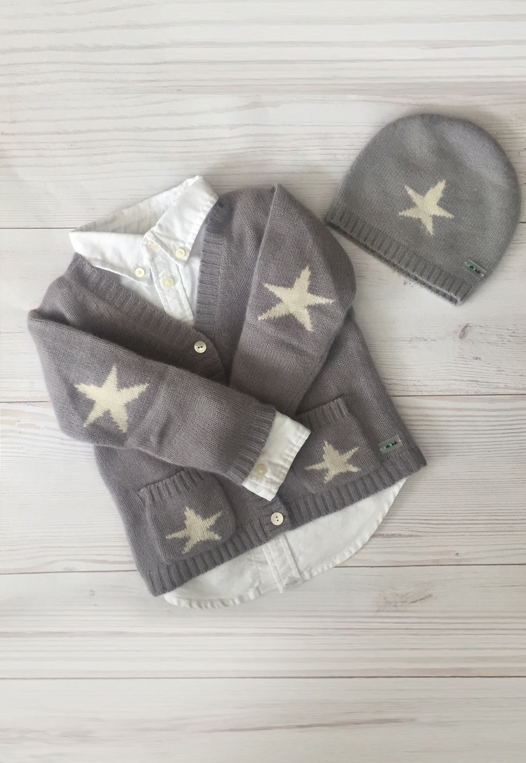 Pure Cashmere Cardigan Intarsia Stars, 100% eco-friendly - MINIMAINS