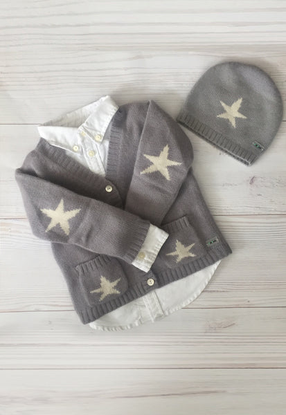Pure Cashmere Cardigan V-Neck Stars, 100% eco-friendly