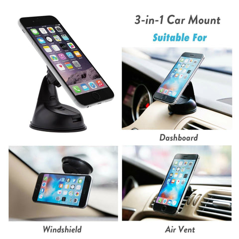 Encust Universal 3 in 1 Dashboard/Windshield/Air Vent Magnetic Car Mount Phone Holder for iPhone 7 SE 6/Plus 5s/ 5c/5, Samsung Galaxy Edge S7 S6, HTC