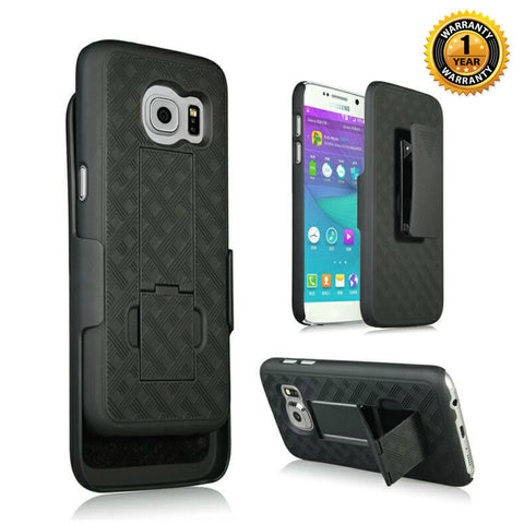 Samsung Galaxy S7 Edge Gray Phone case with kickstand and belt clip combo