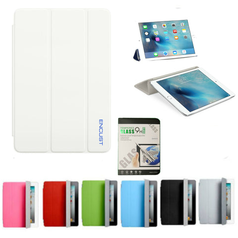 Magnetic Smart Cover with Tempered Glass Screen Protector for all iPad models