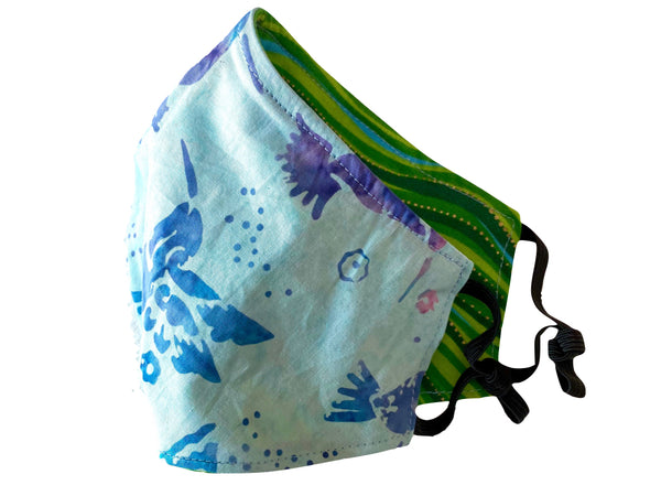 Hummingbird and Green Waves Reversible Cotton Face Mask