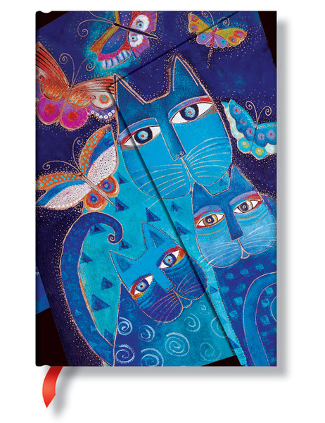 Blue Cats & Butterflies Mini Lined Journal Books & Stationery Hartley & Marks - Laurel Burch Studios