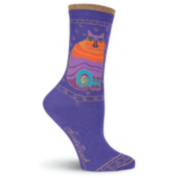 Women's Rainbow Cats Purple Crew Socks
