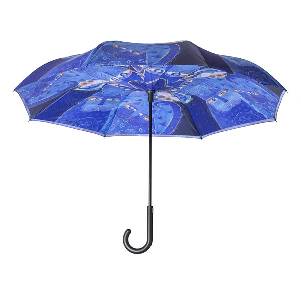 Indigo Cats Reverse-Close Stick Umbrella