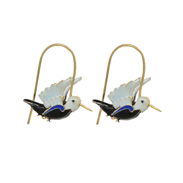 Hummingbird Black and Cobalt Vintage Earrings Vintage Earrings Laurel Burch Jewelry - Laurel Burch Studios