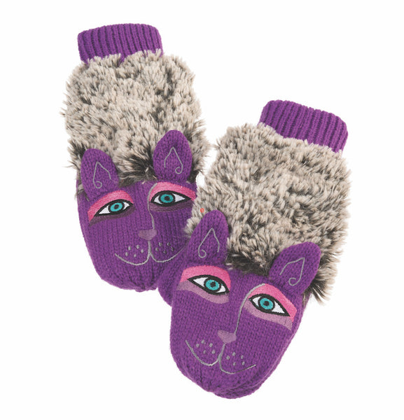 Purple 3-D Furry Dog Mitten Gloves Howards - Laurel Burch Studios
