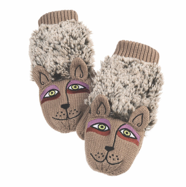 Beige Furry Dog Mittens Gloves Howards - Laurel Burch Studios