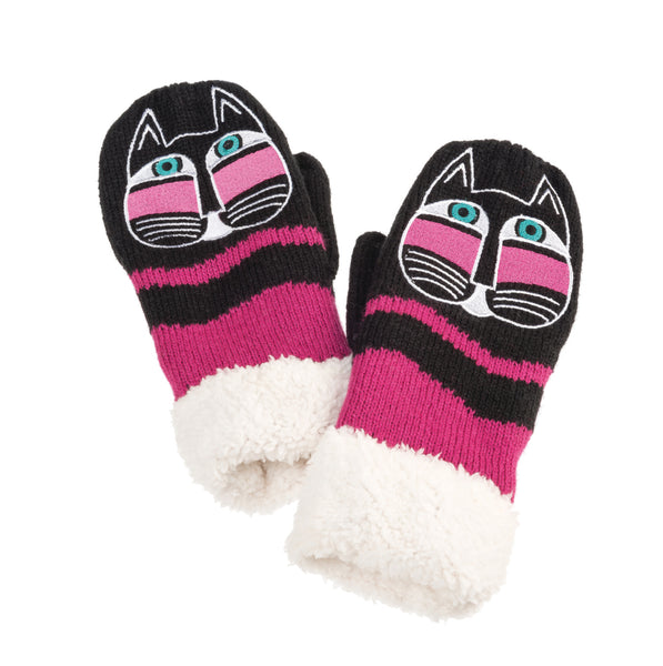 Fuchsia Fantastic Feline Mittens Gloves Howards - Laurel Burch Studios