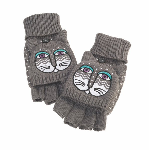 Grey Feline Flip Mittens Gloves Howards - Laurel Burch Studios