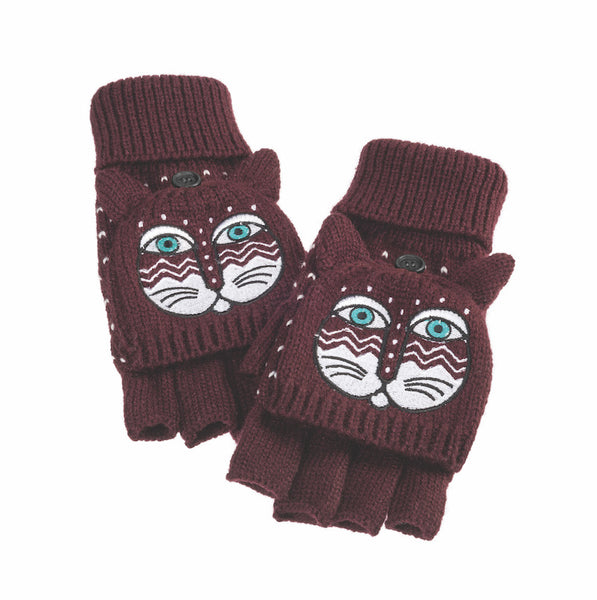 Burgundy Feline Flip Mittens Gloves Howards - Laurel Burch Studios