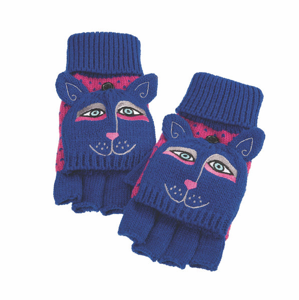 Indigo Dog Flip Mittens Gloves Howards - Laurel Burch Studios