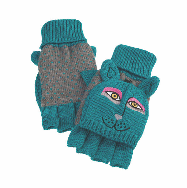 Dark Teal Dog Flip Mittens Gloves Howards - Laurel Burch Studios