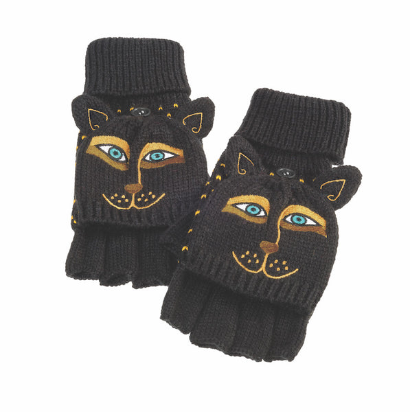 Black and Gold Feline Flip Mittens Gloves Howards - Laurel Burch Studios