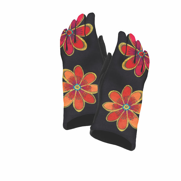 Two Floral Suede Glove