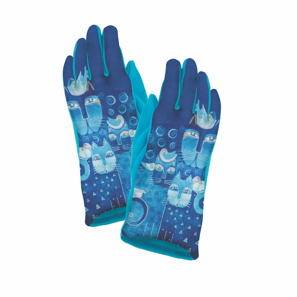 Azul Cats Suede Glove Gloves Howards - Laurel Burch Studios