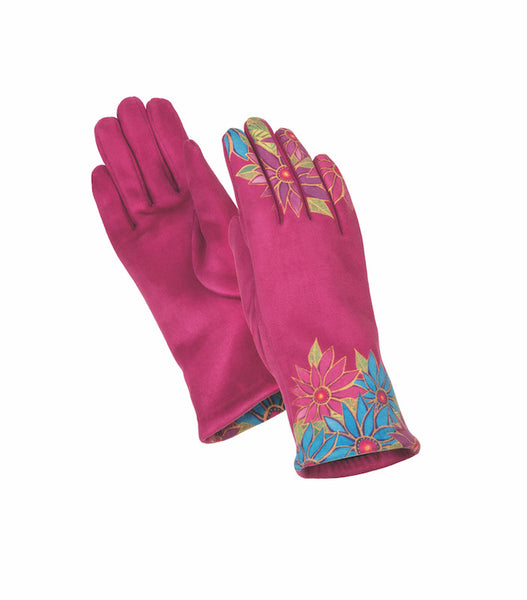 Fuchsia Floral Suede Glove Gloves Howards - Laurel Burch Studios